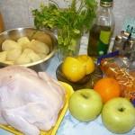 Курица, запеченная с фруктами