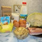 Кулебяка с капустой, свининой и грибами