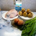 Салат с печеным картофелем и колбой (черемшой)