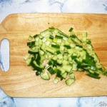 Весенний салат с колбой (черемшой)