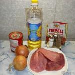Поджарка из свинины с макаронами