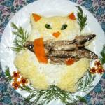 """Салат со шпротами """"Кот на рыбалке"""""""