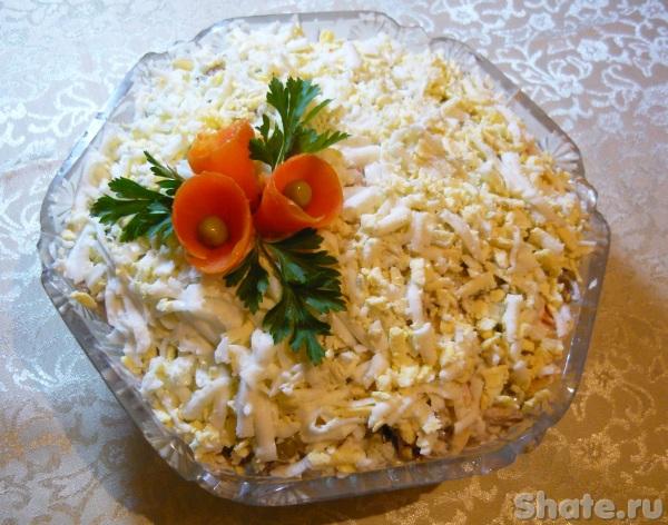 """Салат с печенью и грибами """"Сытный"""""""