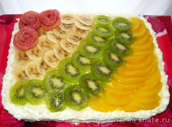 Бисквитный торт с фруктами и сливочно-творожным кремом