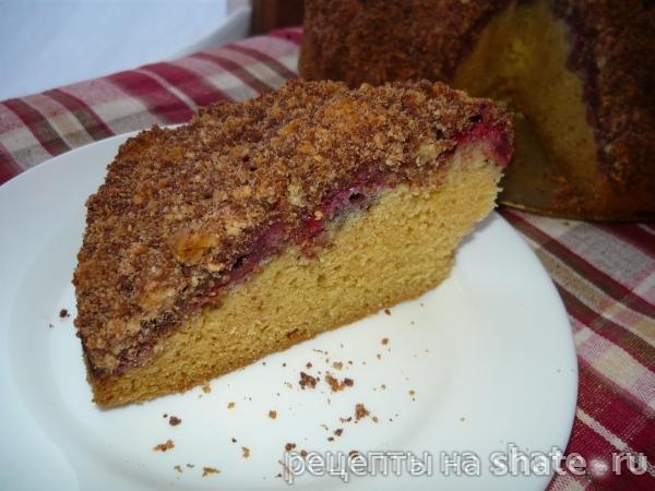Пирог с малиной и шоколадным штрейзелем