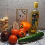 Салат с овощами и языком