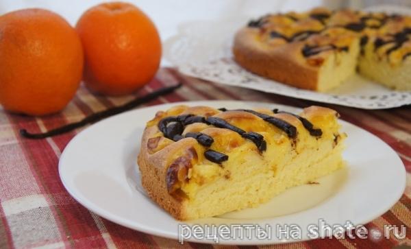 Бисквитный пирог с каталонским кремом и темным шоколадом