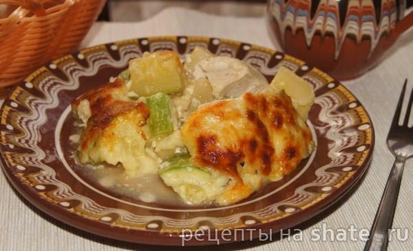Курица с кабачком и картофелем в сливках