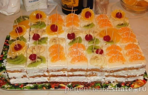 Бисквитный торт с творогом и персиками